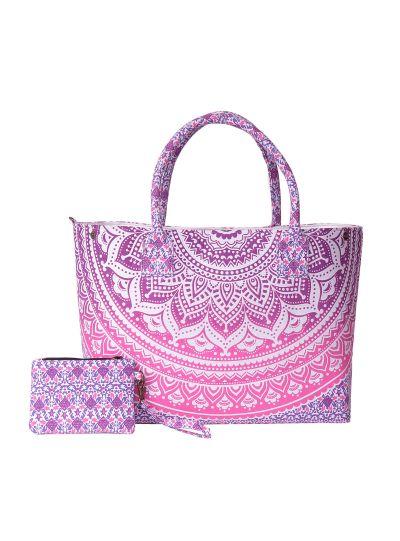 Pink Stylish Spacious Mandala Printed Boho Picnic Beach Tote Bag