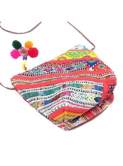 Red Handmade Cotton Ethnic Traditional Embroidered Banjara Sling Bag for Women