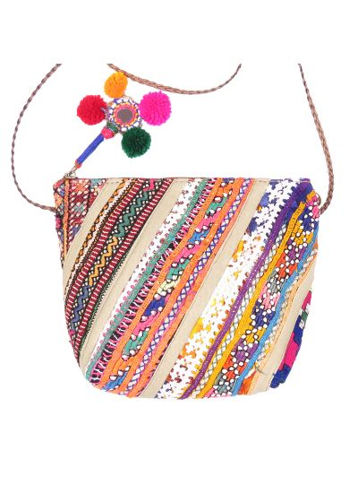 Off-White Handmade Cotton Ethnic Traditional Embroidered Banjara Sling Bag for Women