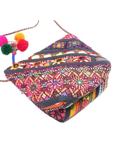 Black Handmade Cotton Ethnic Traditional Embroidered Banjara Sling Bag for Women