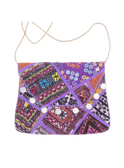 Purple Vintage Bohemian Ladies Clutch Bag Tribal Ethnic Coin Embroidered Banjara Boho Bag
