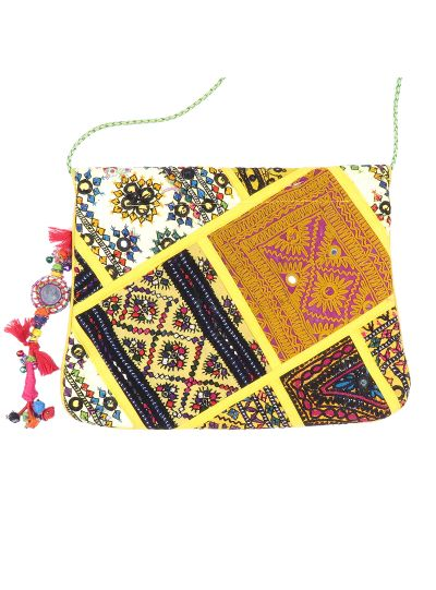 Yellow Vintage Bohemian Ladies Clutch Bag Tribal Ethnic Coin Embroidered Banjara Boho Bag