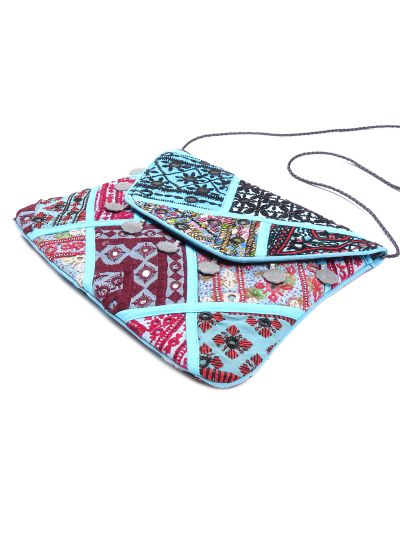 Blue Vintage Bohemian Ladies Clutch Bag Tribal Ethnic Coin Embroidered Banjara Boho Bag