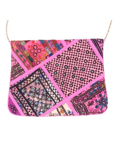 Pink Vintage Bohemian Ladies Clutch Bag Tribal Ethnic Coin Embroidered Banjara Boho Bag