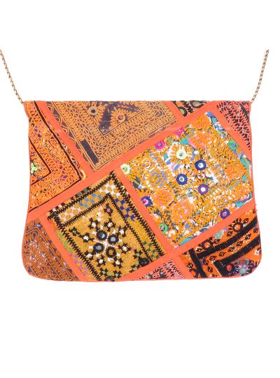 Orange Vintage Bohemian Ladies Clutch Bag Tribal Ethnic Coin Embroidered Banjara Boho Bag