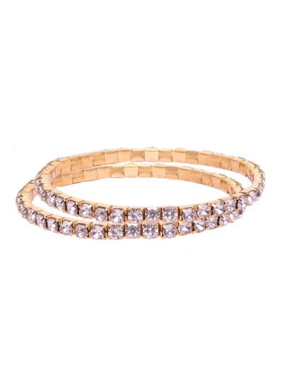 Sparkling Single Layer Gold Plated Crystal Tennis Bracelet for Women Set of 2 Online