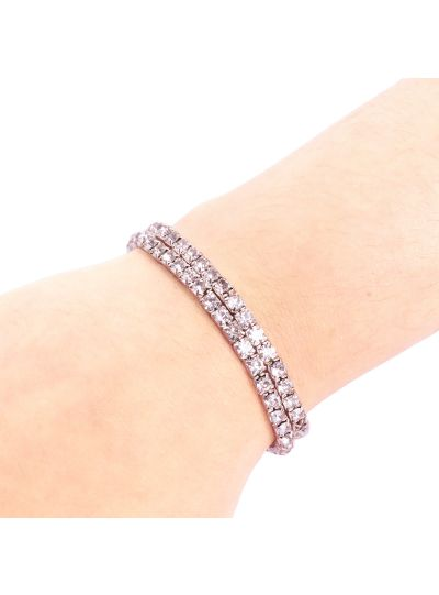 Sparkling Single Layer Silver Plated Crystal Tennis Bracelet for Women Set of 2 Online