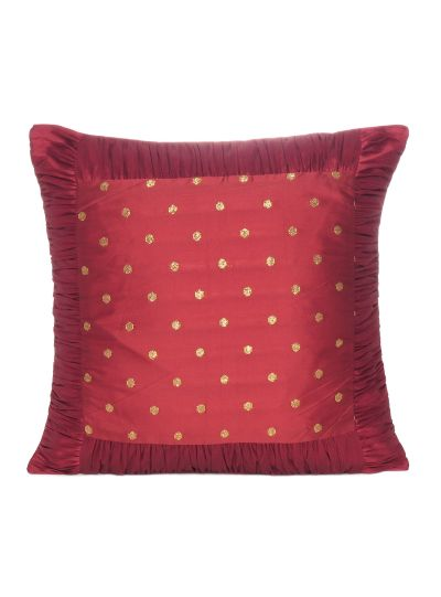 Polydupion Solid Zari Brocade  Square Cushion Cover 18X18 Set Of 2