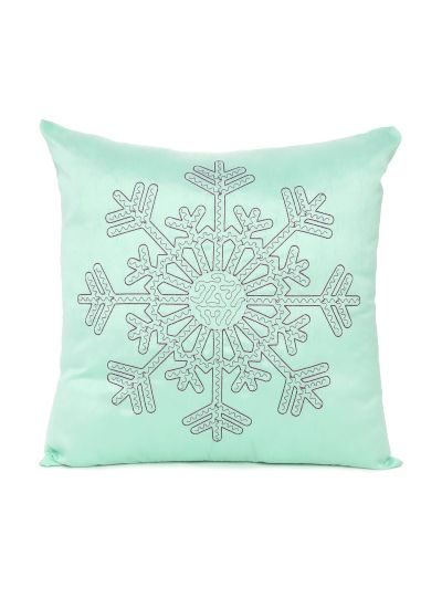 Decorative Solid Light Green Color Snowflake Pattern Cushion Cover Size 18