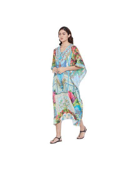 Women Digital Printed Resort Wear Plus Size Caftan Dress Dashiki Hippie Boho Baggy Kaftan Maxi Dress