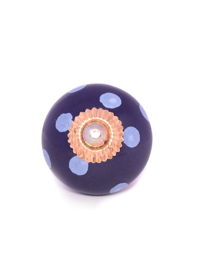 Navy Blue Hand Painted Polka Dot Ceramic Door Knobs For Cabinets Drawers  Online ...