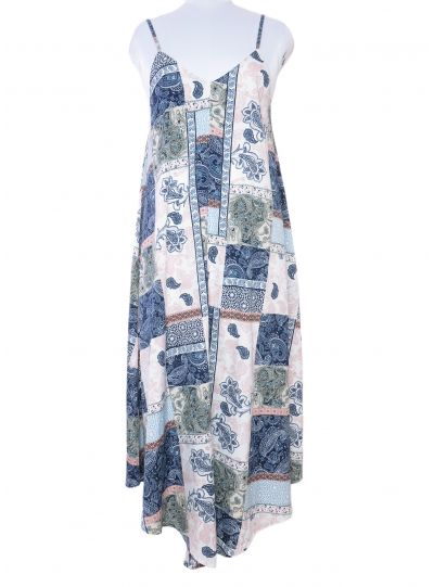 Blue Paisley Spaghetti Strap Maxi Dress for Women Size L