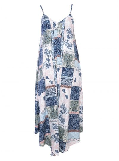 Blue Paisley Spaghetti Strap Maxi Dress for Women Size XL
