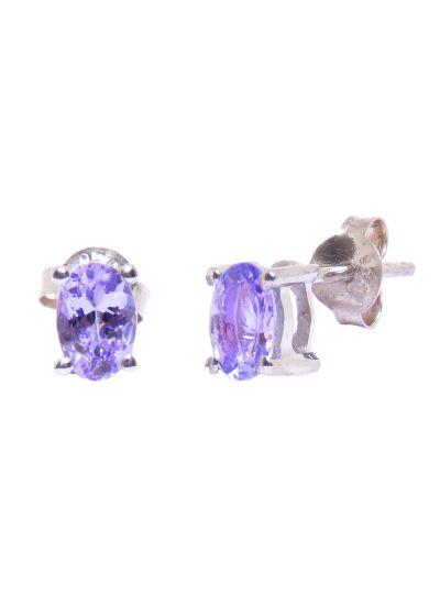 Silver Amethyst Gemstone Oval Stud Earrings for Women