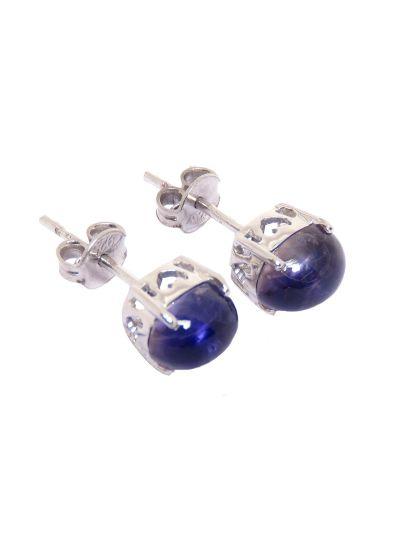 Silver Lapis Lazuli Oval Shape Stud Earrings for Women