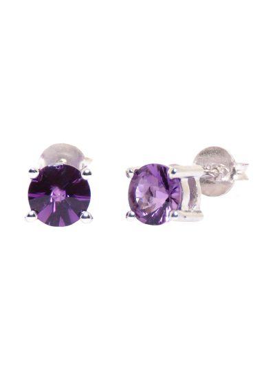Silver Designer Amethyst Gemstone Round Earrings for Women