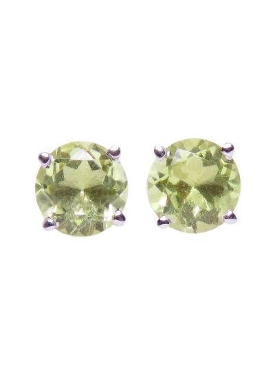 Silver Round Peridot Stud Earrings for Women