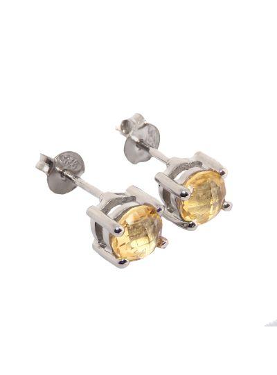 Silver Citrine Gemstone Designer Stud Earrings for Women