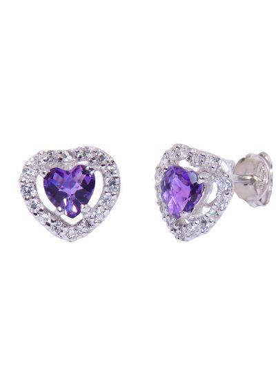 Silver Diamond Amethyst Gemstone Heart Stud Earrings for Women
