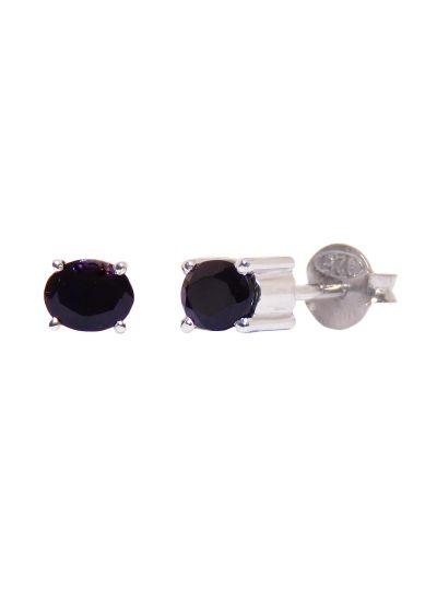 Silver Oval Shape Onyx Black Stud Earrings for Women