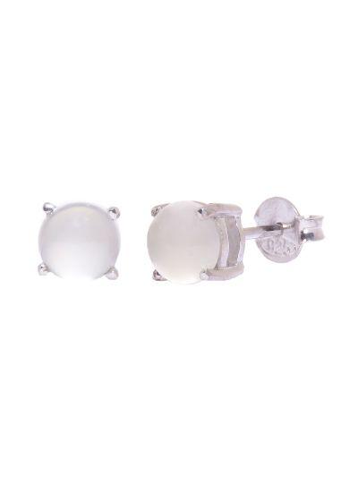 Silver Round Shape Moonstone Stud Earrings for Women