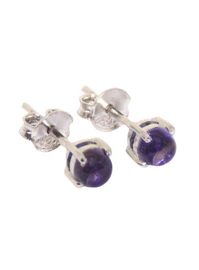 Silver Round Designer Charoite Stud Earrings for Women