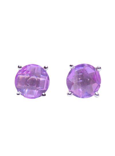Silver Round Designer Amethyst Stud Earrings for Women