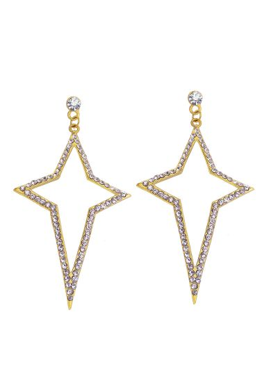 Gold Star Diamond Dangle Earrings for Women Fashion Jewelry Online