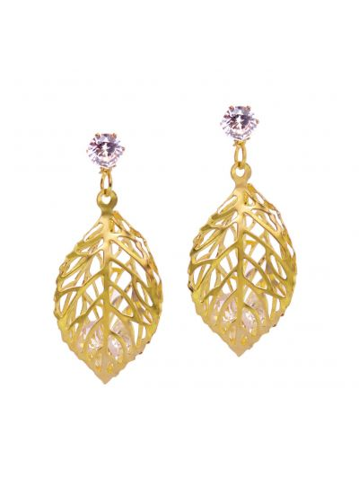 Gold Earrings for Women Hollow Leaf Dangle Fashion Earrings Online