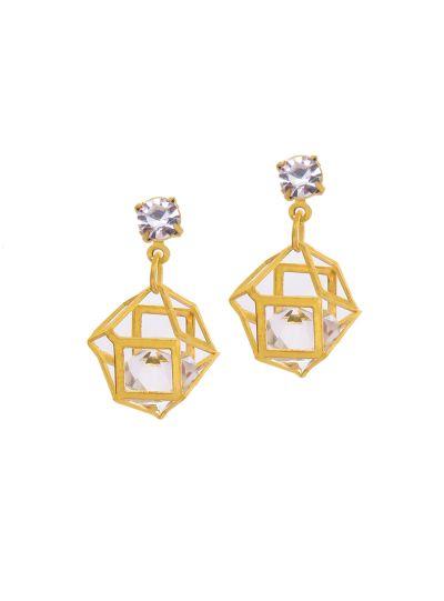 Gold Crystal Hollow Polygon Earrings for Women Geometric Fashion Jewelry Online