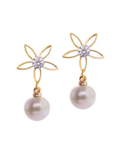 Gold Pearl Flower Earrings for Women Fashion Jewelry Online