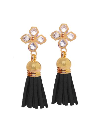Metal and Acrylic Stone Suede Tassel Earrings for Women Fashion Ear Jewelry