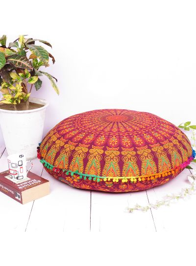 Printed Floral Boho Decorative Round Mandala Cotton Cushion Cover Floor Pillow Cases