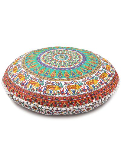Floral Deer Printed Boho Decorative Round Mandala Floor Pillow Cases Cotton Cushion Cover
