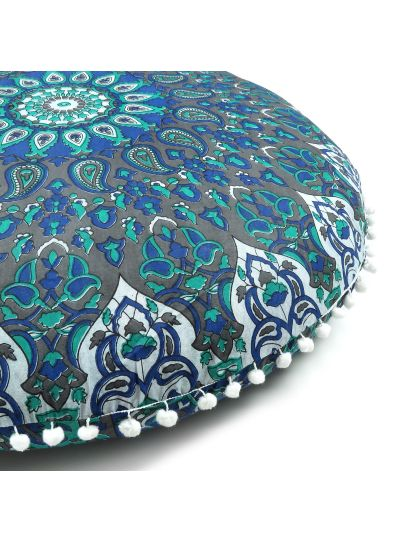 Blue Paisley Decorative Cotton Round Floor Cushion Cover 32