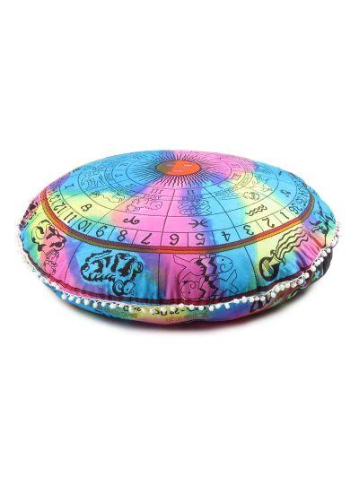 Multi Color Zodiac Printed Decorative Cotton Round Floor Cushion Cover 32
