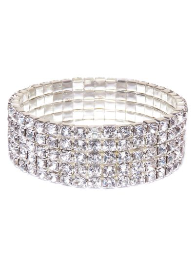 Sparkling Five Layer Silver Crystal Tennis Bracelet for Women