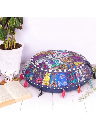 Ethnic Indian Patchwork Floor Cushion Cover Round Boho Ottoman Poufs for Home Decor- 28