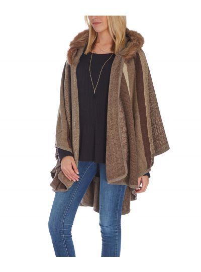 Brown Fur Ruana Faux Shawl Wrap For Women Poncho Style Winterwear Cardigan