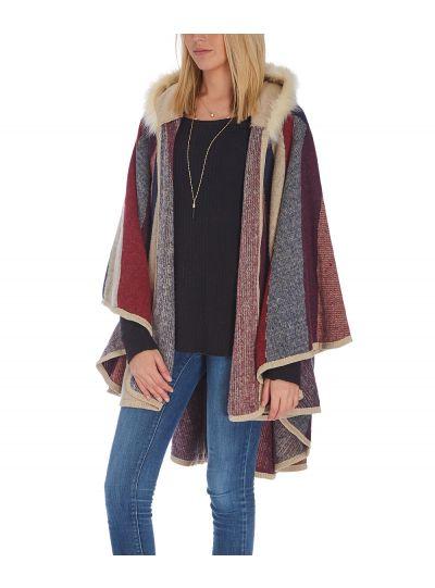 Navy Fur Ruana Faux Shawl Wrap For Women Poncho Style Winterwear Cardigan