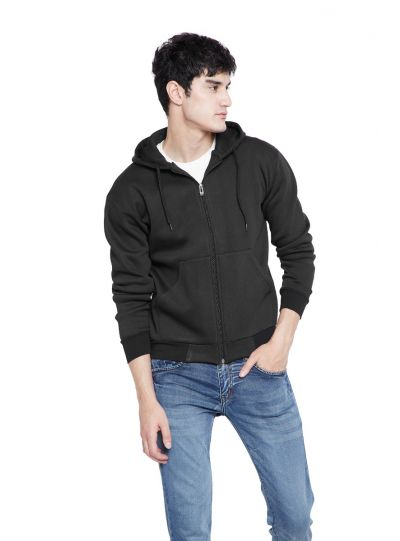 Men's Foam Fleece Full Zip Jacket with Hoodie Causal Winter Wear
