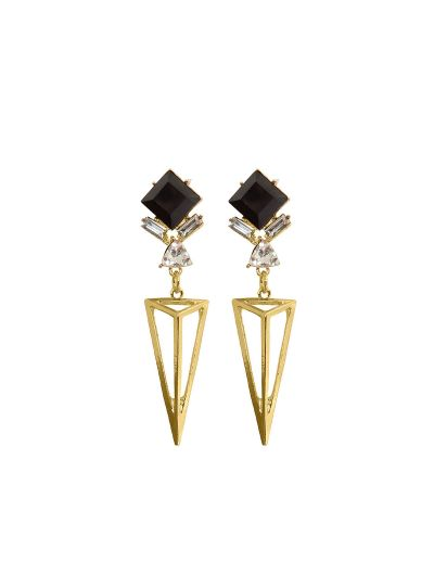 Long Diamond Geometric Triangle Shape Dangle Earrings For Womens