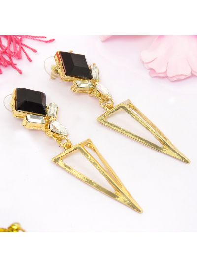 Long Diamond Geometric Triangle Shape Dangle Earrings For Womens