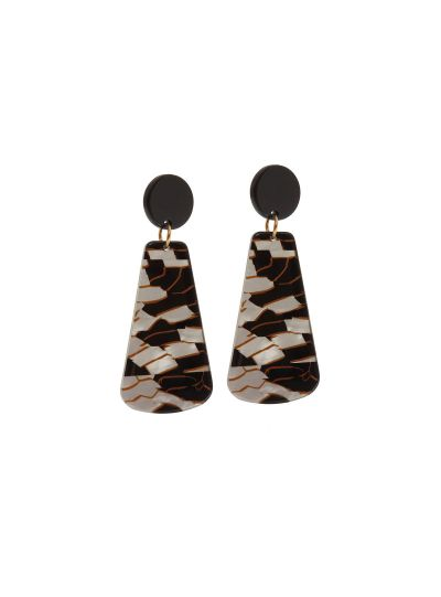 Black Silver Plated Designer Resin Earrings For Womens