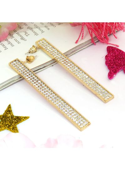 Crystal Diamond Bar Rectangular Fashion Earrings For Womens