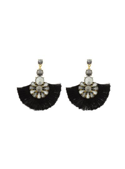Black Gold Plated Floral Thread Tassel Earrings For Womens