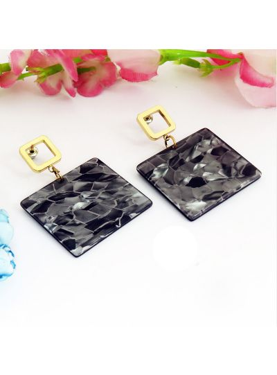 Blue Gold Plated Square Resin Dangle Earrings For Womens
