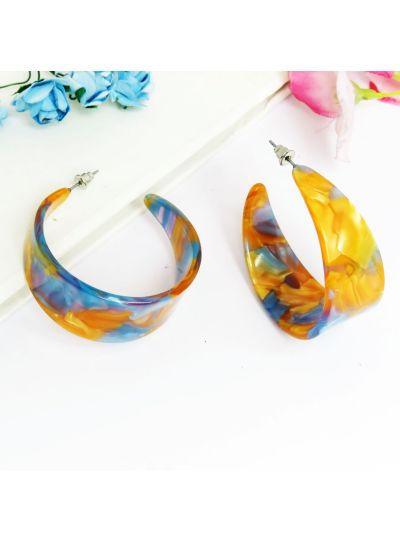Orange And Blue Silver Plated Resin Hoop Earrings For Womens