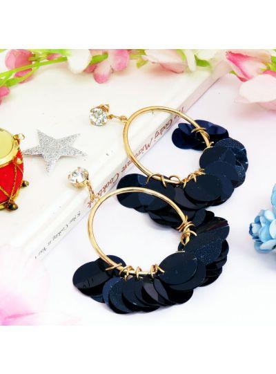 Plastic Round Disc Flower Dangle Earrings For Womens