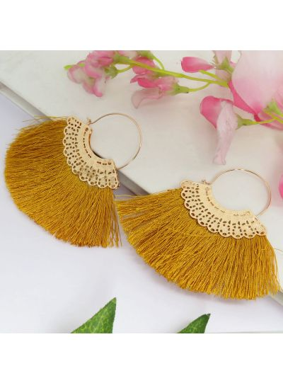 Orange Gold Plated Thread Tassel Fashion Earrings For Womens